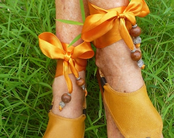 Hippy Chic,Boho, Sole Pakashoes with Unique Tawny Leather Cover Just for YOU Free Shipping