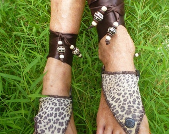 Hippy Chic,Boho, Sole Pakashoes with Unique Leather Cover  Leopard Print JJUST FOR YOU Free Shipping