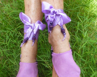 Hippy Chic,Boho, Sole Pakashoes with Unique Mauve Leather Cover Just for YOU Free Shipping