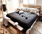 Gorgeous pompom blanket , cotton 100 ,handmade,black color