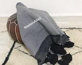 Gorgeous Moroccan pompom blanket , cotton 100 , MadeinAtlas,handmade, greay black stripe pompom black