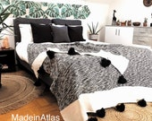 Gorgeous Moroccan pompom blanket,soft cotton MadeinAtlas,handmade, Black and white color