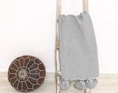 Moroccan pompom blanket, decorative cotton couverture 100 cotton ,MadeinAtlas,handmade, gray color pon poms