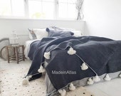 Amazing pompom blanket , cotton 100 ,handmade,black color pompom white