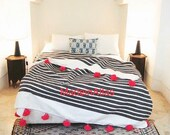 Gorgeous Fatiha-Moroccan blanket , pom pom,cotton 100 , MadeinAtlas,handmade, whtie charcoal gray stripe pink pompom