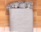 Gorgeous Moroccan pompom blanket, decorative cotton couverture 100 cotton ,MadeinAtlas,handmade, light gray