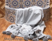 Gorgeous Hanan soft blanket , cotton 100 , MadeinAtlas,handmade, grey whtie stripe pompom grey
