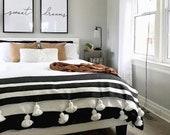 Isherak Moroccan pompom blanket , cotton 100 ,handmade, white and black stripe pompom white