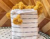 Asha Moroccan pompom blanket , cotton 100 ,handmade, white and black pompom yellow
