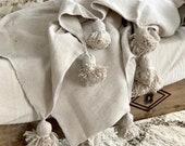 Gorgeous cream blanket pom-pom,cotton 100 , MadeinAtlas,handmade, Cream