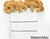 Gorgeous Zaki Moroccan pompom blanket , cotton 100 ,handmade, white and design stripe pompom yellow