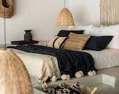 Moroccan Pompom Blanket,Moroccan Blanket,Moroccan Throw Blanket, Black Pom Poms cream, Boho Blanket,Bed Cover Madeinatlas