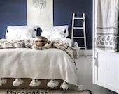 Moroccan Blanket,Moroccan Throw Blanket, Pom Poms, Boho Blanket,Bed Cover,Cream blanket,Moroccan Pompom Blanket cream color