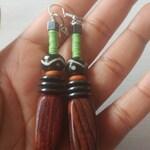 Mudcloth woodgrain earrings  / african beaded earrings/summer boho earrings/ african bone earrings / african summer earring
