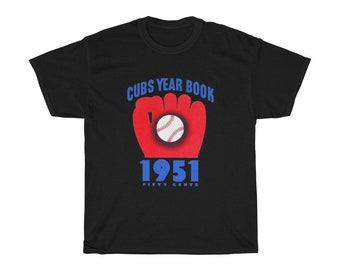 1951 Vintage Chicago Cubs Baseball Year Book Cover - Heavy Cotton Tee