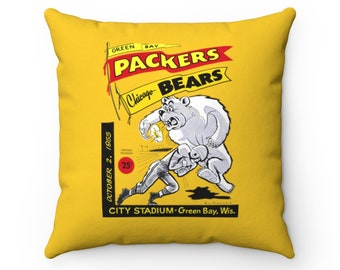 1955 Vintage Chicago Bears - Green Bay Packers Football Program Cover - Pillow