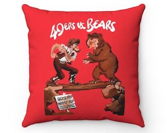 1955 Vintage Chicago Bears - San Francisco 49ers Football Program Cover - Pillow