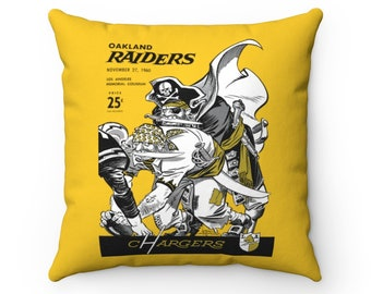 1960 Vintage Oakland Raiders - Los Angeles Chargers Football Program Cover - Pillow
