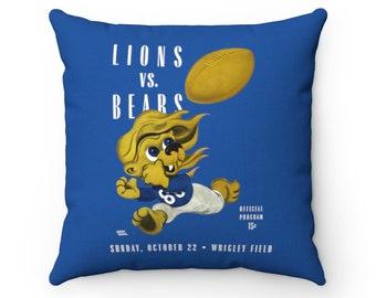 1944 Vintage Detroit Lions - Chicago Bears Football Program Cover - Pillow