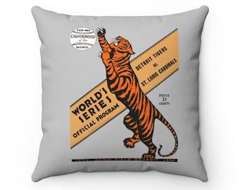 1934 Vintage Detroit Tigers - St. Louis Cardinals Baseball World Series Program Cover - Pillow