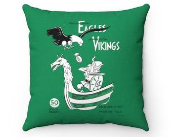 1963 Vintage Minnesota Vikings - Philadelphia Eagles Football Program Cover - Pillow