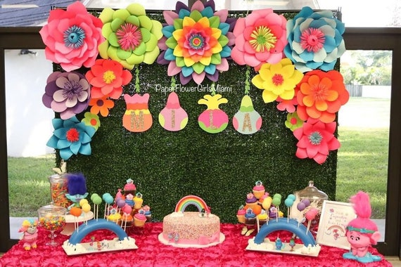 Theme Paper Flower Backdrop Trolls Other Themes Etsy