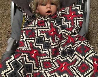 Car Seat Blanket Boy Red Black Gray Aztec Tribal Print