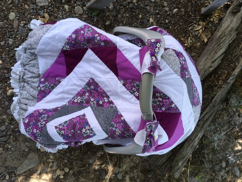 Baby girl car seat covers canopy pink purple hand quilted