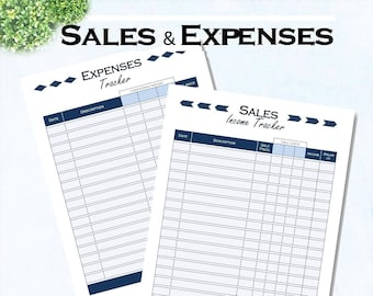Printable expense tracker, sales tracker, small business planner, instant download, printable Letter size and A4 pdf