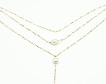Elle Pearl Layering Necklace Set