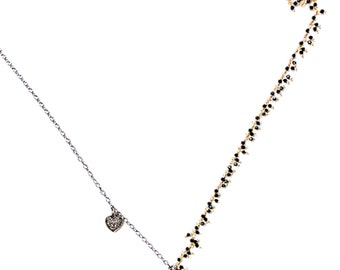Sterling Silver Spinel Diamond Charms Necklace