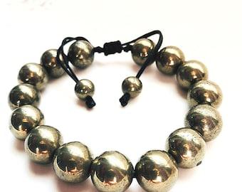 Adjustable Pyrite Confidence bracelet