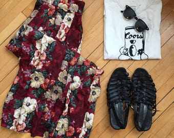Maroon Floral Vintage Midi Maxi Skirt Herman Geist Size 8 Medium Hipster Festival Boho Bohemian Americana