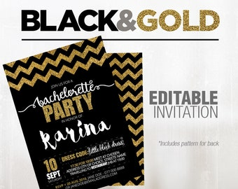 Personalised Black & Gold Bachelorette Party Invitation