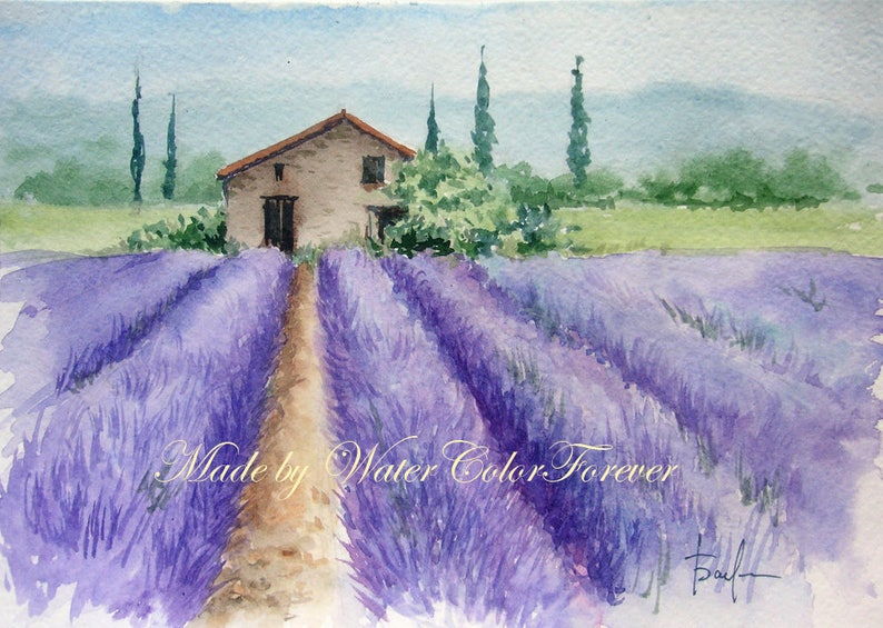 Provence original watercolor lavender field original image 0