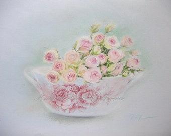 Rose painting/Original pastel painting/rose art/art flowers/rose wall art/pink roses painting/flower bouquet/pastel flowers/vintage roses