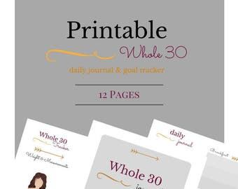 Whole 30 Printable Food Journal, Meal Planner, Weight Tracker, Instant Download