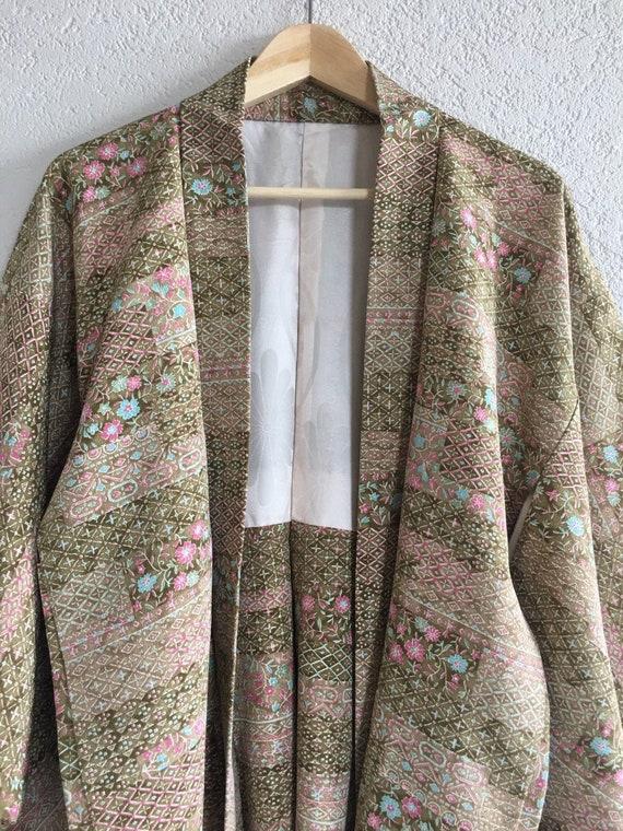 Vintage Japanese  kimono silk Jacket, crepe Haori,
