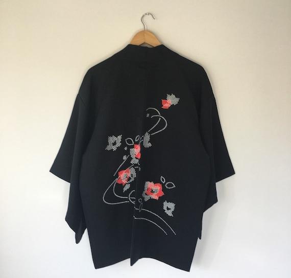 Vintage Japanese kimono Jacket, silk crepe Haori,