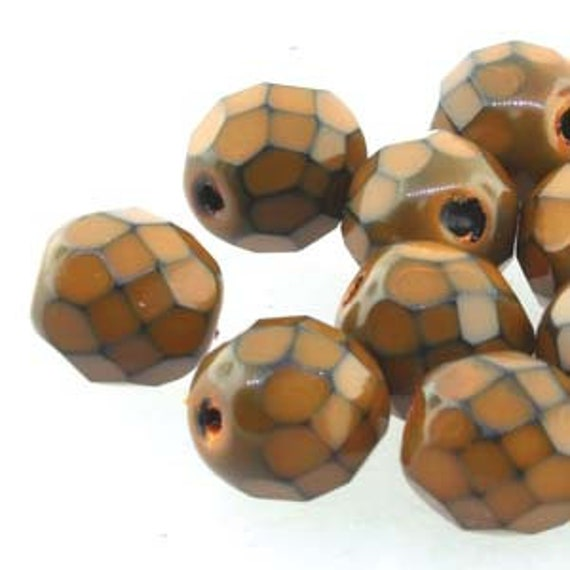 """Snake 15 Czech 10mm Faceted Round Firepolished Glass Beads 6/"""""""
