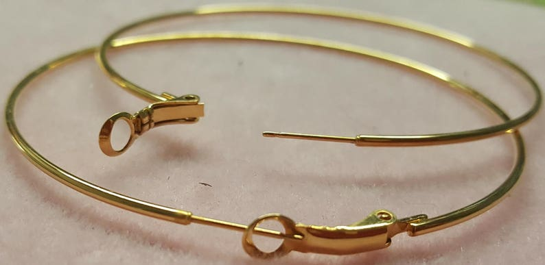 70mm Gold Plate Earwires Beadable Earring Hoops  Extra Large 1mm Thickness for Making Beaded Earrings Cat House Beads diam. Atlanta GA
