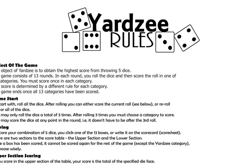 photo regarding Yardzee Rules Printable identified as Yardzee Garden Video game Legal guidelines and Scoresheet