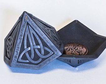 Pyramid Celtic Treasure Box | Scottish Gift | Unique Geometric Design | Trinket Box