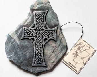 Iona Cross Wall Plaque, Celtic Cross Wall Art, Scottish Gift, Celtic Art, Hand cast reconstituted stone wall plaque, Handmade in Scotland