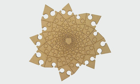 Drawing Wooden Fractal Template Cutting File Laser And Cnc Router Cutting Plans Toys Cardboard Puzzle
