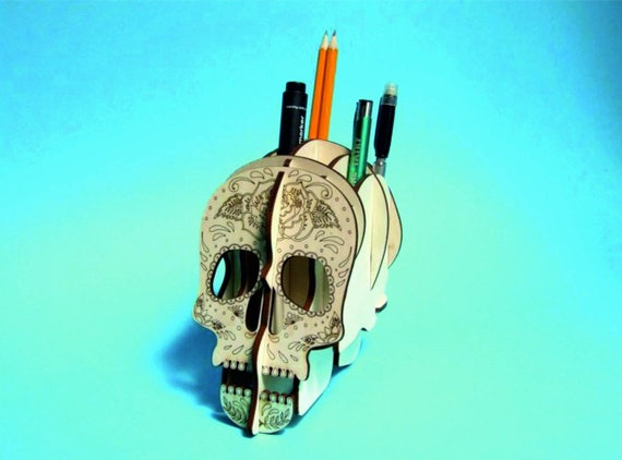 Halloween Party Decoration Skull Stand Template Cutting Etsy
