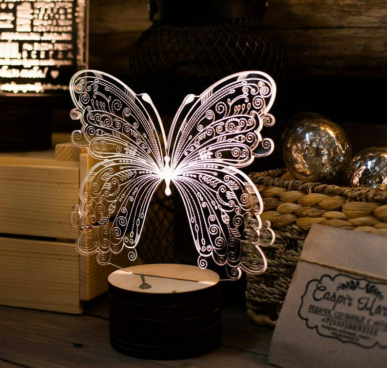 Butterfly 3d illusion acrylic lamp vector file LED light  For laser cutting  and engraving