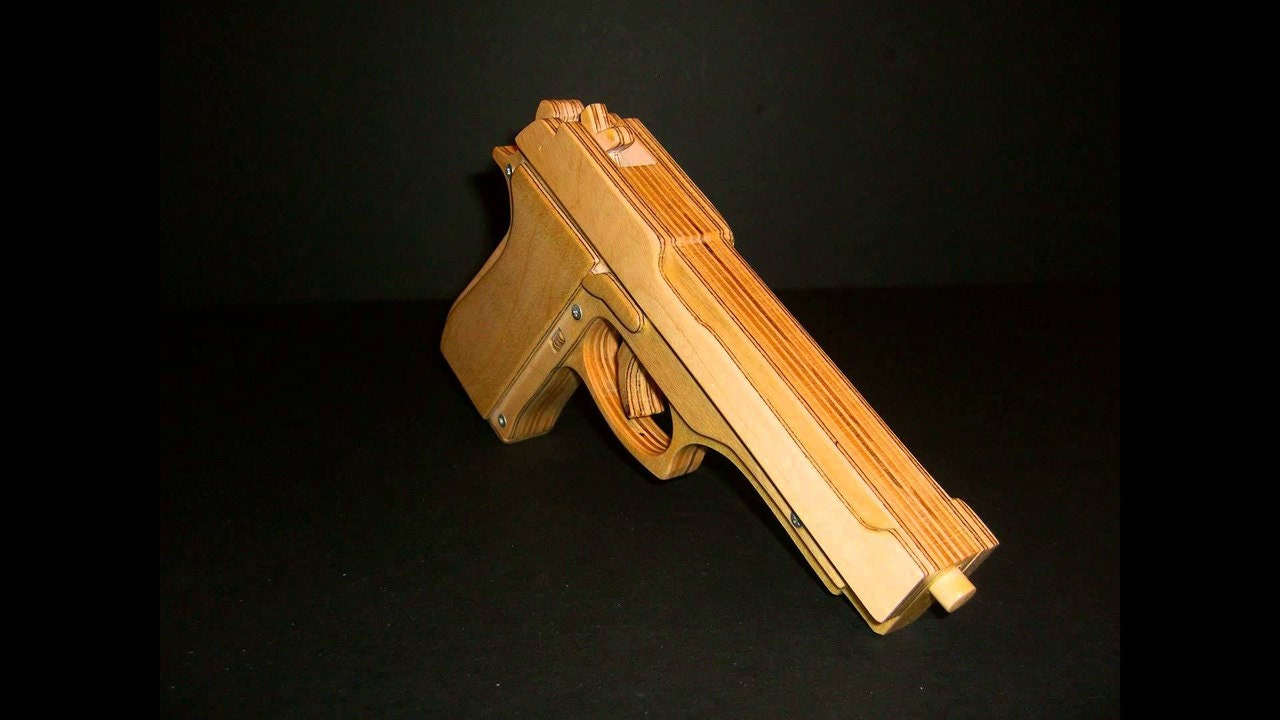 woodworking plans pistol, wooden gun - rubber band gun - toy revolver -  woodworking plans - cnc files for wood - lasercut dxf - dxf - diy