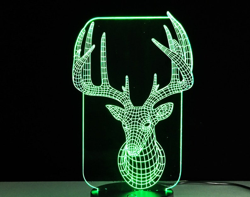 Deer 3d illusion acrylic led lamp vector file LED light  Animal lamp  For  laser cutting and engraving