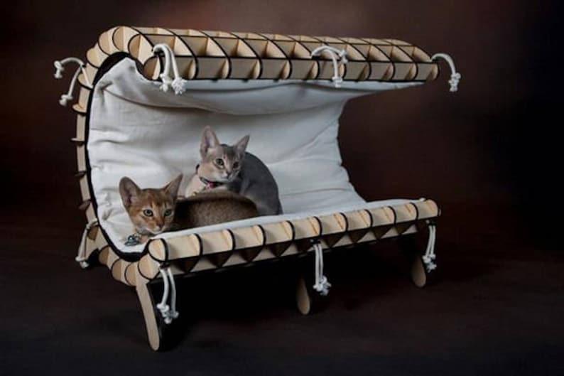 Vector plan modern CAT BED for laser cut - handmade pet house digital download diy woodwork cdr